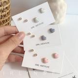 韩国冷淡风精致锆石爱心滴釉简约小巧耳环套装