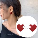 S925银针韩国红色刻字爱心小巧简约清新百搭少女耳钉