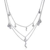欧美星星月亮圆片三层吊跨境新款饰品速卖通热卖项链锁骨链