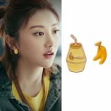 韩国香蕉牛奶趣味搞怪酸奶少女风耳钉