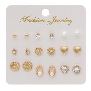 欧美创意镶钻猫眼石花朵珍珠套装9件套耳钉