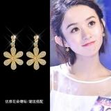 韩国个性简约森系花瓣气质镶钻网红耳钉