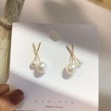 【4-7左右】S925银针韩国气质网红时尚百搭x型珍珠简约耳钉