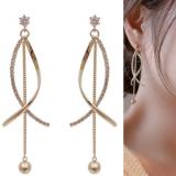 【6-13左右】S925银针韩国东大门气质镶钻时尚温柔淑女风长款耳钉