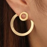 欧美跨境饰品时尚几何圆圈复古简约大小圆圈后挂耳钉