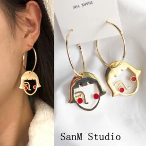 韩国个性超可爱百搭羞羞女孩红脸女孩几何圆圈耳环