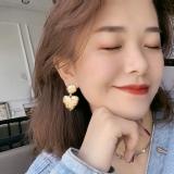 S925银针韩国桃心印星星个性性冷淡风爱心哑金耳钉