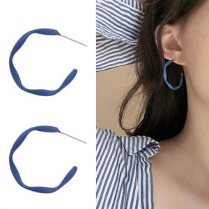S925银针韩国烟雾蓝扭纹个性C形简约开口磨砂质感气质耳钉