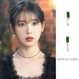 S925银针韩国简约小巧祖母绿珍珠气质不对称耳钉