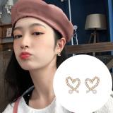 S925银针韩国简约百搭珍珠爱心气质小巧耳钉