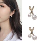 S925银针韩国小巧交叉高级感简约百搭淑女风珍珠耳钉