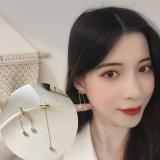 S925银针韩国简约长链条一款三戴甜美少女珍珠耳钉