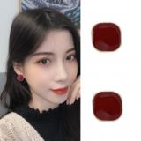 S925银针韩国气质简约酒红色方形高级感通勤时尚耳钉