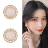 S925银针韩国珍珠圆圈个性气质贝壳光泽耳钉