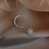 S925银针韩国星星月亮高级感满钻不对称耳钉