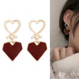 S925银针韩国甜美爱心滴油百搭几何镂空耳钉