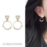S925银针韩国气质小圆环爱心珍珠甜美少女耳钉
