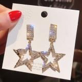 S925银针韩国气质金属质感几何五角星满钻耳钉