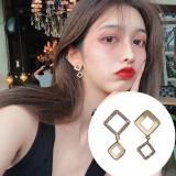S925银针韩国夏天百搭2020新款方块满钻个性不对称网红耳钉