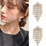 S925银针韩国时髦高级感流苏闪耀灵动锆钻小巧耳钉