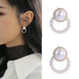 S925银针韩国简约百搭珍珠圆圈温柔风优雅大方耳钉