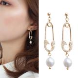 S925银针韩国满钻回形针天然珍珠长款气质耳钉