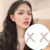 S925银针韩国十字架2020新款气质高级感网红冷淡风耳钉