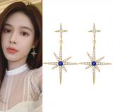 S925银针韩国满钻六芒星气质轻奢蓝钻星星耳钉