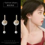 S925银针韩国气质珍珠前后式蝴蝶结长款流苏耳钉