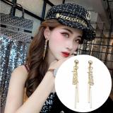 S925银针韩国夸张满钻字母气质网红不对称流苏长款耳钉