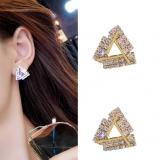S925银针韩国三角满钻气质百搭网红个性耳钉