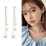 S925银针韩国珍珠气质网红高级感流苏长款耳钉