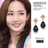 S925银针韩国东大门精致宫廷蓝宝石气质优雅时尚耳钉