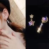 S925银针韩国月亮星星闪钻长款满钻不对称高级感耳钉