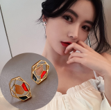 S925银针韩国彩色几何图形春夏新款小众设计个性新潮耳钉