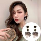 'S925银针韩国2020新款撞色水晶花瓣长款立体花朵耳钉