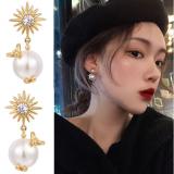 S925银针韩国高级感网红小蜜蜂珍珠气质百搭耳钉