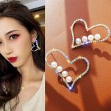S925银针韩国满钻爱心夸张气质网红心形个性耳钉