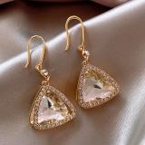 韩国三角形闪钻新款潮高级感气质奢华耳环