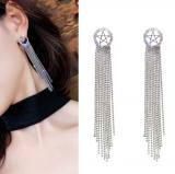 S925银针韩国夏季百搭气质镂空星星镶钻流苏长款耳钉