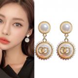 S925银针韩国东大门小香风复古珍珠网红同款气质简约耳钉