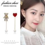 S925银针韩国时尚不对称爱心珍珠心形小熊可爱满钻锆石流苏耳钉