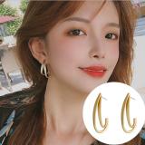 S925银针韩国金属双层错位C形新款气质个性简约高级感耳钉
