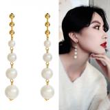 S925银针韩国简约显瘦珍珠长款森系超仙网红长款耳钉