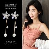 S925银针韩国气质超仙花朵百搭五叶花珍珠流苏耳钉