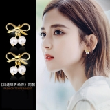 S925银针韩国复古高级感蝴蝶结珍珠可爱小巧耳钉