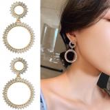 S925银针韩国高级满钻珍珠华丽名媛风长款奢侈感耳钉