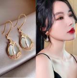 韩国郁金香高级感猫眼石镶钻气质网红水滴耳环
