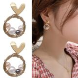 S925银针韩国珍珠耳钉冷淡风爱心复古编制可爱少女耳钉