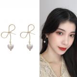 S925银针韩国气质简约爱心形珍珠轻巧编织蝴蝶结少女耳钉